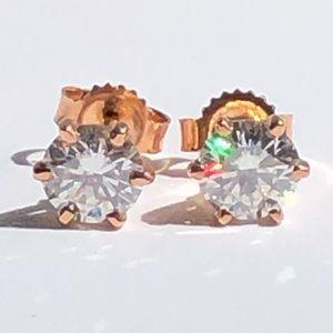 Jewelry - 14K Rose Gold 1.00 Ct.Tw. Moissanite Studs
